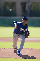 Los Angeles Dodgers pitcher Imani Abdullah (62) follows through on his delivery during an Instructional League game against the Chicago White Sox on September 30, 2017 at Camelback Ranch in Glendale, Arizona. (Zachary Lucy/Four Seam Images)