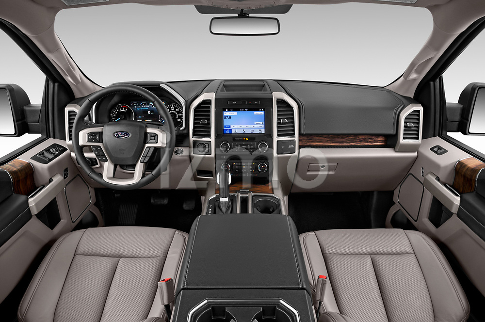 Stock photo of straight dashboard view of 2018 Ford F-150 Lariat 4 Door Pick-up Dashboard