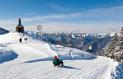 Germany, Bavaria, Upper Bavaria, above Tegernseer Valley, at Wallberg mountain, Germany's longest winter toboggan run 6.5 km, view into Bavarian and Austrian Alps