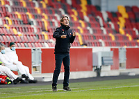 7th November 2020; Brentford Community Stadium, London, England; English Football League Championship Football, Brentford FC versus Middlesbrough; Brentford Manager Thomas Frank shouting instructions from the trouchline