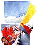 Illustrative image of sailors controlling sailboat representing conquering adversity