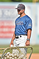 Asheville Tourists manager Warren Schaeffer during Home Run Derby before the South Atlantic League All Star Game on June 23, 2015 in Asheville, North Carolina. The North Division defeated the South 7-5(Tony Farlow/Four Seam Images)