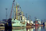 Fishing industry Albert Dock, Hull Humberside Uk 1980s