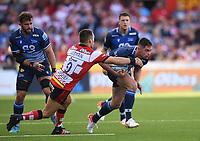 9th October 2021; Kingsholm Stadium, Gloucester, England; Gallagher Premiership Rugby, Gloucester versus Sale Sharks;  Ben Meehan of Gloucester tackles Luke James of Sale Sharks
