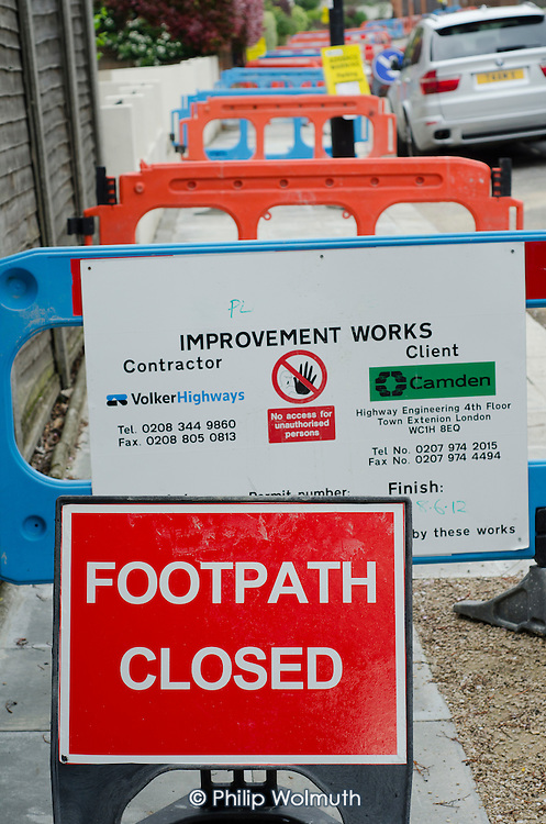 Pavement works in Hampstead, London Borough of Camden.
