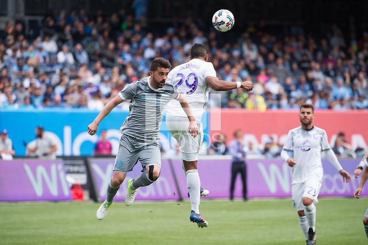 BRONX, New York - Sunday, April 23, 2017: New York City FC takes on Orlando City SC at home at Yankee Stadium during the MLS regular season.