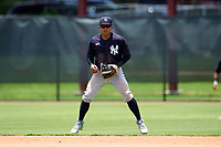New York Yankees second baseman Luis Santos (31) during an Extended Spring Training game against the Philadelphia Phillies on June 22, 2021 at the Carpenter Complex in Clearwater, Florida. (Mike Janes/Four Seam Images)