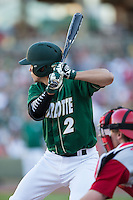 Brad Elwood (2) of the Charlotte 49ers at bat against the North Carolina State Wolfpack at BB&T Ballpark on March 31, 2015 in Charlotte, North Carolina.  The Wolfpack defeated the 49ers 10-6.  (Brian Westerholt/Four Seam Images)
