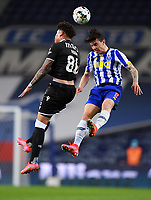 22nd April 2021; Dragao Stadium, Porto, Portugal; Portuguese Championship 2020/2021, FC Porto versus Vitoria de Guimaraes; Mateus Uribe of FC Porto and Noah Emmanuel Jean Holm of Vitoria de Guimaraes challenge for a header