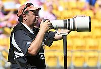 Photographer Darren Taumata at the 2017 HSBC World Sevens Series Wellington, Westpac Stadium in Wellington, New Zealand on Saturday, 28 January 2017. Photo: Kerry Marshall / lintottphoto.co.nz