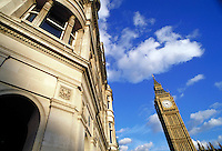 Big Ben with building in front. London, England. London, England.