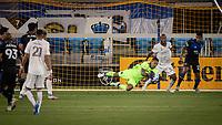 SAN JOSE, CA - SEPTEMBER 05: Daniel Vega #17 makes a save during a game between Colorado Rapids and San Jose Earthquakes at Earthquakes Stadium on September 05, 2020 in San Jose, California.