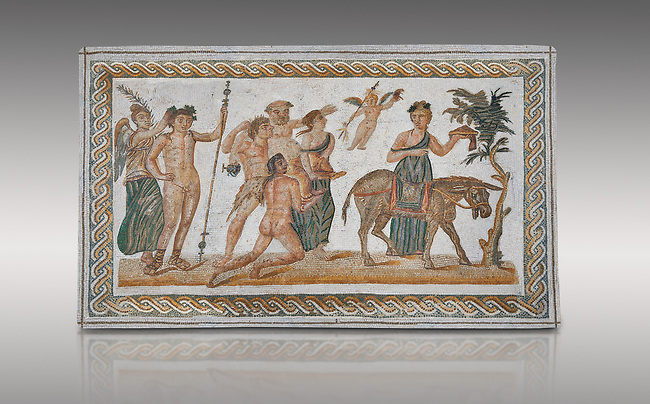 Picture of a Roman mosaics design depicting scenes from the Life of Dionysus, from the ancient Roman city of Thysdrus, House of Silenus. Late 2nd to early 3rd century AD. El Djem Archaeological Museum, El Djem, Tunisia.<br /> <br /> In the central panel of this Roman mosaic the  teacher of Dionysus, Silenus, is being carried towards a donkey.