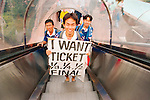 World Cup 1998, France 98 <br /> Japan fans look for tickets.<br /> (Exact date tbc). Photo by Tony Davis
