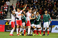 Harrison, NJ - Tuesday April 10, 2018: New York Red Bulls and Club Deportivo Guadalajara line up for a free kick during leg two of a  CONCACAF Champions League semi-final match between the New York Red Bulls and C. D. Guadalajara at Red Bull Arena. C. D. Guadalajara defeated the New York Red Bulls 0-0 (1-0 on aggregate).