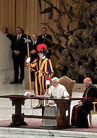 Papa Benedetto XVI, affiancato dal Cardinale Vicario di Roma Agostino Vallini, incontra i parroci di Roma nell'Aula Paolo VI, Citta' del Vaticano, 14 febbraio 2013. Il Pontefice lascera' il Papato il prossimo 28 febbraio..Pope Benedict XVI, flanked by Rome's Vicar General Cardinal Agostino Vallini, meets Rome's parish priests at the Paul VI hall, Vatican, 14 February 2013. The Pontiff will leave the papacy on next 28 February..UPDATE IMAGES PRESS/Riccardo De Luca -STRICTLY FOR EDITORIAL USE ONLY-