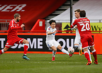 10th January 2021; Broadfield Stadium, Crawley, Sussex, England; English FA Cup Football, Crawley Town versus Leeds United; Ian Poveda of Leeds united crossing the ball into the Crawley box