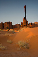 """A fine art Southwestern nature image of the Totem Pole, one of the two more famous formations in Monument Valley, which is a highly eroded remnant of a butte, rising to 381 feet in height.  This image pairs nicely with """"Yei Bi Chei and Sand Patterns - Monument Valley."""" Monument Valley is a region of the Navajo Nation known as the Colorado Plateau characterized by clusters of sandstone buttes.  The Totem Pole is a classic symbol of the American Southwest. This area is located near the Arizona-Utah border, near the Four Corners area."""