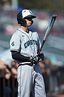 Scott McKeon (10) of the Coastal Carolina Chanticleers waits for his turn to bat during the game against the Duke Blue Devils at Segra Stadium on November 2, 2019 in Fayetteville, North Carolina. (Brian Westerholt/Four Seam Images)