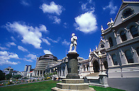 New Zealand, Wellington, The Beehive, Parliament and statue of Richard Seddon