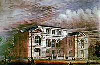 A perspective rendering of the Lenox Library in New York City designed by Richard Morris Hunt.
