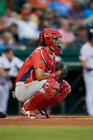 Peoria Chiefs catcher Dennis Ortega (28) during a game against the Bowling Green Hot Rods on September 15, 2018 at Bowling Green Ballpark in Bowling Green, Kentucky.  Bowling Green defeated Peoria 6-1.  (Mike Janes/Four Seam Images)