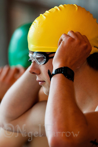 02 MAY 2010 - CALNE, GBR - A competitor prepares for the start of his swim wave at the BUCS Sprint Triathlon Championships .(PHOTO (C) NIGEL FARROW)