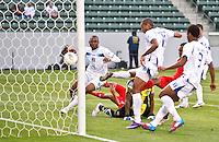 CARSON, CA - March 23, 2012: Eddie Hernandez (13) of Honduras scores a goal during the Honduras vs Panama match at the Home Depot Center in Carson, California.