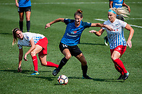 Kansas City, MO - Saturday September 9, 2017: Yael Averbuch, Julie Ertz during a regular season National Women's Soccer League (NWSL) match between FC Kansas City and the Chicago Red Stars at Children's Mercy Victory Field.