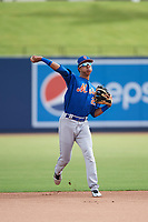 GCL Mets shortstop Mark Vientos (15) warmup throw to first base during the first game of a doubleheader against the GCL Nationals on July 22, 2017 at The Ballpark of the Palm Beaches in Palm Beach, Florida.  GCL Mets defeated the GCL Nationals 1-0 in a seven inning game that originally started on July 17th.  (Mike Janes/Four Seam Images)