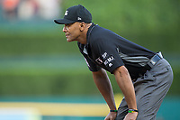 First base umpire CB Bucknor works the Major League Baseball game between the Chicago White Sox and the Detroit Tigers at Comerica Park on June 2, 2017 in Detroit, Michigan.  The Tigers defeated the White Sox 15-5.  (Brian Westerholt/Four Seam Images)