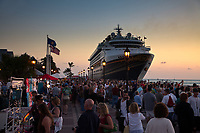 Cruise Ship , Dusk, Mallory Square, Key West, Florida Keys, FL, America, USA.