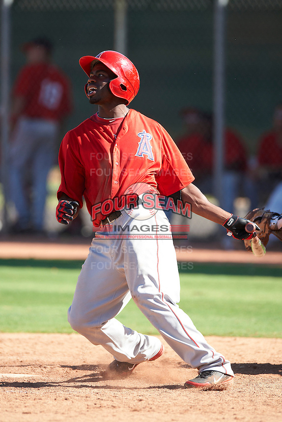 Los Angeles Angels minor league outfielder Travis Witherspoon #25 during an instructional league game against the Arizona Diamondbacks at the Tempe Diablo Minor League Complex on October 1, 2012 in Tempe, Arizona.  (Mike Janes/Four Seam Images)