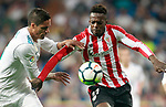 Real Madrid's Raphael Varane (l) and Athletic de Bilbao's Inaki Williams during La Liga match. April 18,2018. (ALTERPHOTOS/Acero)