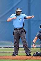 Umpire Andrew Craddock calls strike three during a Tampa Bay Rays Extended Spring Training intrasquad game on June 15, 2021 at Charlotte Sports Park in Port Charlotte, Florida.  (Mike Janes/Four Seam Images)
