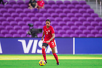 ORLANDO, FL - FEBRUARY 24: Jade Rose #3 of the CANWNT dribbles the ball during a game between Brazil and Canada at Exploria Stadium on February 24, 2021 in Orlando, Florida.
