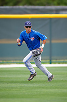 Toronto Blue Jays Dave Pepe (55) during practice before a minor league Spring Training game against the Pittsburgh Pirates on March 24, 2016 at Pirate City in Bradenton, Florida.  (Mike Janes/Four Seam Images)