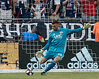 FOXBOROUGH, MA - JULY 27: Matt Turner #30 goal kick during a game between Orlando City SC and New England Revolution at Gillette Stadium on July 27, 2019 in Foxborough, Massachusetts.