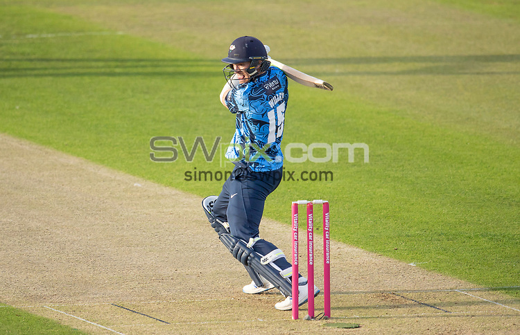 Picture by Allan McKenzie/SWpix.com - 24/08/2021 - Cricket - Vitality Blast Quarter Final - Yorkshire Vikings v Sussex Sharks - Emirates Durham ICG, Chester-le-Street, England - The Viking's David Willey hits out.