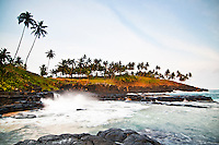 A typical sightseeing place in Sao Tomé, a Boca do Infierno (Hell's mouth), a tunnel that funnels the waves into a small aperture creating massive sprays