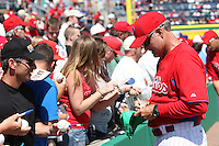 Philadelphia Phillies Ryne Sandberg #23 signs autographs before a spring training game against the Baltimore Orioles at Bright House Field in Clearwater, Florida;  March 8, 2011.  Photo By Mike Janes/Four Seam Images