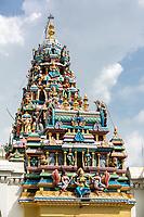 George Town, Penang, Malaysia.  Entrance Tower (Gopuram) of Sri Maha Mariamman Hindu Temple.