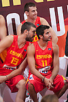Ricky Rubio (R) and Marc Gasol during the official presentation of Spain´s basketball team for the 2014 Spain Basketball Championship in Madrid, Spain. July 24, 2014. (ALTERPHOTOS/Victor Blanco)