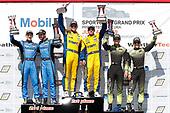 #86 Meyer Shank Racing w/ Curb-Agajanian Acura NSX GT3, GTD: Mario Farnbacher, Trent Hindman, #96 Turner Motorsport BMW M6 GT3, GTD: Bill Auberlen, Robby Foley, #12 AIM Vasser Sullivan Lexus RC F GT3, GTD: Frank Montecalvo, Townsend Bell, podium
