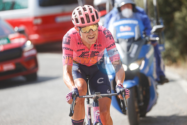 Magnus Cort Nielsen (Den) EF Education-Nippo out front 30 seconds ahead on the final climb during Stage 11 of La Vuelta d'Espana 2021, running 133.6km from Antequera to Valdepeñas de Jaén, Spain. 25th August 2021.     <br /> Picture: Luis Angel Gomez/Photogomezsport | Cyclefile<br /> <br /> All photos usage must carry mandatory copyright credit (© Cyclefile | Luis Angel Gomez/Photogomezsport)