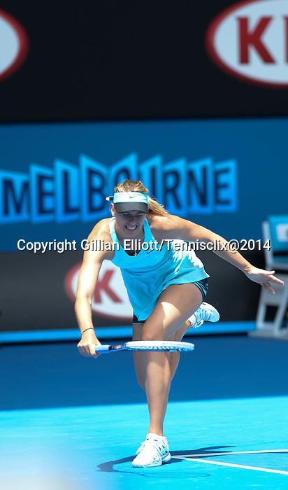 Maria Sharapova (RUS) loses to Dominika Cibulkova (SVK) 4-6, 6-4, 6-1  at the Australian Open in Melbourne, Australia on January 20, 2014