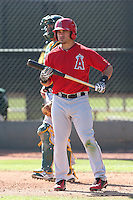 Joel Capote #38 of the Los Angeles Angels bats during a Minor League Spring Training Game against the Oakland Athletics at the Los Angeles Angels Spring Training Complex on March 17, 2014 in Tempe, Arizona. (Larry Goren/Four Seam Images)