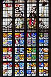Netherlands, North Holland, Amsterdam: Oude Kerk (Old Church) stained glass windows showing Coats of Arms | Niederlande, Nordholland, Amsterdam: Bleiglasfenster in der Oude Kerk (Alte Kirche) zeigt Abbildungen verschiedener Wappen