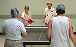 Shirley Ling, left, and Mildred Swiec play ping pong against Wayne Lenhares and Vernon Moss at the Carson City Senior Citizen Center in Carson City, Nev., on Wednesday, Aug. 22, 2012..Photo by Cathleen Allison