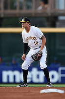 Bradenton Marauders shortstop JaCoby Jones (10) during a game against the St. Lucie Mets on April 11, 2015 at McKechnie Field in Bradenton, Florida.  St. Lucie defeated Bradenton 3-2.  (Mike Janes/Four Seam Images)